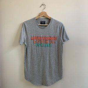 💟Abercrombie & Fitch Gray Men's Logo Tee Shirt